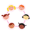 Multicultural unity kids heads vector