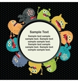 Cute monsters round banner vector