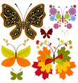 Set abstract floral butterflies vector