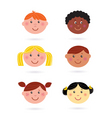 Multicultural kids' heads vector