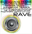 Rave music genres background vector