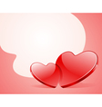 Two red shiny glass hearts vector