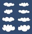 White clouds on dark blue sky background set vector