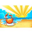 A beach with a crab vector