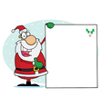 Jolly christmas santa holding up a blank sign vector