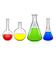 Four flasks of different sizes with colored liquid vector