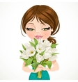 Cute brunette girl holding beautiful bouquet white vector