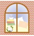 Cup of coffee cocoa tea cappuccino view window vector