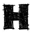 H - hand drawn character sketch font vector