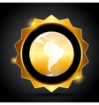 Golden label with globe map vector