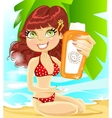 Girl in red swimsuit with cream for sunburn vector