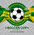 Soccer emblem with geometric background in brazil vector