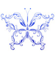 Blue patterned butterfly vector