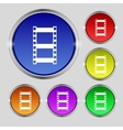 Video sign icon frame symbol set colourful buttons vector