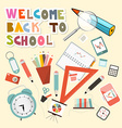 Back to school with school items vector