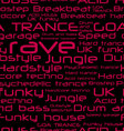 Seamless background - rave music genres vector