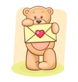 Teddy bear holding envelope vector