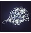 Baseball cap made up a lot of diamonds vector