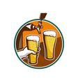 Beer pint glass hand tap retro vector