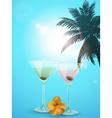 Summer cocktail blue background portrait vector