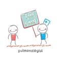 Pulmonologist shows the patient a poster of the vector