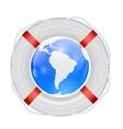 Globe in lifebuoy vector