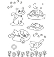 Cute cartoon cats coloring page vector