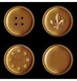 Set of vintage bronze buttons vector