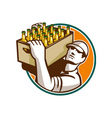 Bartender carrying beer case retro vector