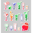 Cocktails and glasses with alcohol on stickers vector