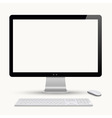 Modern monitor with keyboard and computer mouse vector
