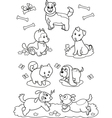 Cute cartoon dogs coloring page vector