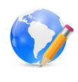 Yellow pencil and globe publish icon vector