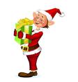 Cute christmas elf holding a present box vector