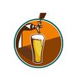 Beer pint glass tap retro vector
