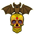 Bat stand over the sugar skull vector