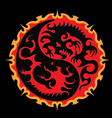 Fire dragon battle in sun yin yang symbol vector