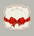 Vintage label with a red bow for design packing vector