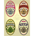 Set of four oval labels for beer vector