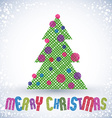 Christmas greeting card with special font and hand vector