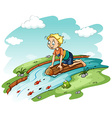 Young man above the log vector