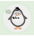Hipster penguin textured frame design vector