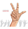 Numbers hand signs set number three detailed vector