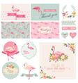 Flamingo party set - for wedding bridal shower vector
