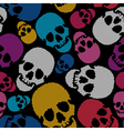 Colorful skulls on black background vector