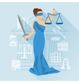 Lady justice in flat design style vector