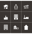Black building icon set vector