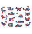 Set of animal figures and modes of transportation vector