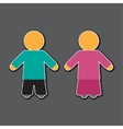 Girl and boy icon in blue and pink vector