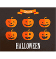 Halloween cute set of pumpkin icons vector